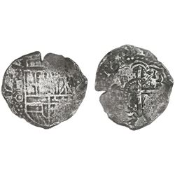 Potosi, Bolivia, cob 4 reales, 1650O, with unidentified countermark on cross.
