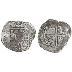 Potosi, Bolivia, cob 4 reales, 165(0-1)O, with unidentified countermark on shield.