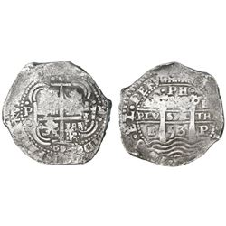 Potosi, Bolivia, cob 8 reales, 1653E dot-PH-dot at top.