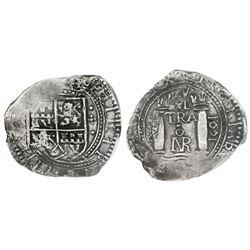 Bogota, Colombia, cob 4 reales, 1651, assayer RMS, rare, PCGS AU detail / saltwater damage, ex-Eldor