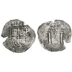 Bogota, Colombia, cob 8 reales, 1652, assayer PoRAS, rare, PCGS VF detail / saltwater damage, ex-Eld