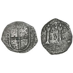 Cartagena, Colombia, cob 4 reales, (1655)S, very rare.