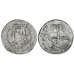 """Lima, Peru, cob 8 reales, 1659V, """"Star of Lima"""" type (Series 1A), rare."""