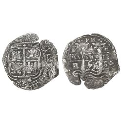 Potosi, Bolivia, cob 4 reales, 1654E, dot-PH-dot at top.