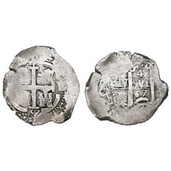 Potosi, Bolivia, cob 4 reales, 1667E, Charles II.