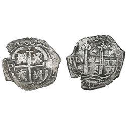 Potosi, Bolivia, cob 4 reales, 1674E.