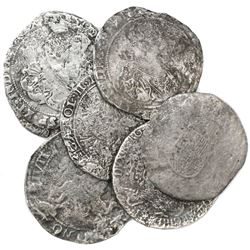 Lot of seven ducatoons of the Spanish (six) and United (one) Netherlands.