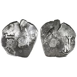 Potosi, Bolivia, cob 8 reales, 1679V, with weight-adjustment plug for circulation in New York City (