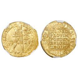 Utrecht, United Netherlands, gold ducat, 1724, NGC MS 63 / Akerendam.