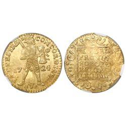 Utrecht, United Netherlands, ducat, 1724, NGC MS 62.