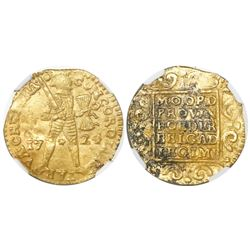 Utrecht, United Netherlands, gold ducat, 1724, NGC UNC details / environmental damage / Akerendam.