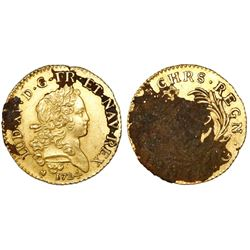 France (Poitiers mint), louis d'or, Louis XV, 1724-G, encrusted as found.
