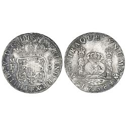 Mexico City, Mexico, pillar 8 reales, Philip V, 1738MF.