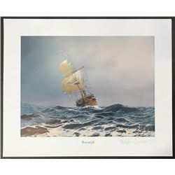 Signed lithograph print of the Rooswijk shipwreck of 1739, limited edition (400 copies made), by art