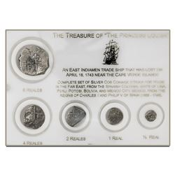 Denomination set of 8-4-2-1-1/2 reales, various mints and dates (where visible), in custom plastic d