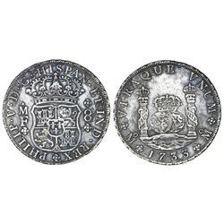 Mexico City, Mexico, pillar 8 reales, Philip V, 1733MF, small crown.