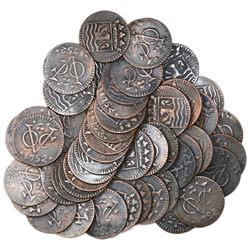 Large lot of 50 Dutch East India Company (Zeeland province) copper duits, 1752.