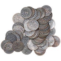 Large lot of 50 Dutch East India Company (Zeeland province) copper duits, 1752.