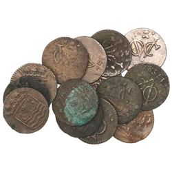 Lot of 14 Dutch East India Company (Zeeland province) copper duits, 1752.