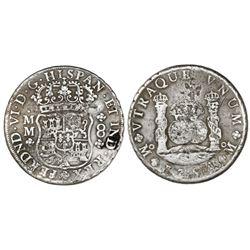 Mexico City, Mexico, pillar 8 reales, Ferdinand VI, 1754MM, crowns alike, very rare variety.