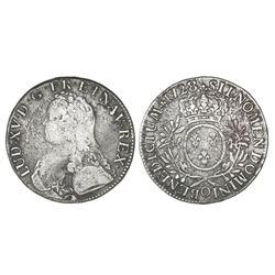 France (Riom mint), ecu, Louis XV, 1728-O.