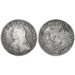 France (Pau mint in the province of Bearn), ecu, Louis XV, 1730, mintmark cow.