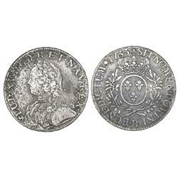 France (Rouen mint), ecu, Louis XV, 1733-B.