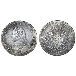 France (Aix mint), ecu, Louis XV, 1735, mintmark ampersand.