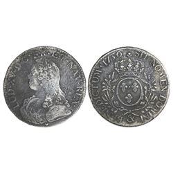 France (Aix mint), ecu, Louis XV, 1736, mintmark ampersand.