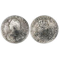 France (Rouen mint), ecu, Louis XV, 1737-B.
