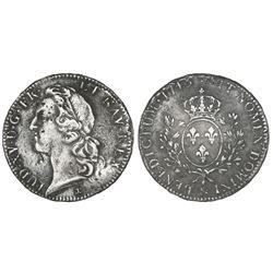 France (Aix mint), ecu, Louis XV (large bust), 1743, mintmark ampersand.