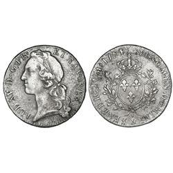 France (Aix mint), ecu, Louis XV (large bust), 1744, mintmark ampersand.