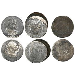 Lot of two clumps of bust 8 reales (three coins each) and four individual bust 8 reales.