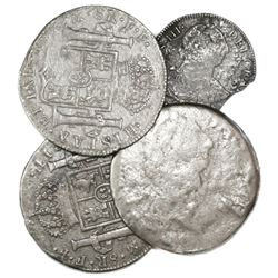 Lot of four Mexico City, Mexico, bust 8R (three) and 2R (one), Charles III, dates not visible.