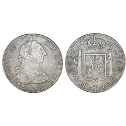 Santiago, Chile, bust 8 reales, Charles IV transitional (bust of Charles III, ordinal IV), 1789DA, r