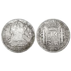 Mexico City, Mexico, bust 8 reales, Charles IV transitional (bust of Charles III, ordinal IV), 1789F