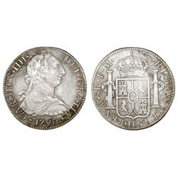 Mexico City, Mexico, bust 8 reales, Charles IV transitional (bust of Charles III, ordinal IIII), 179