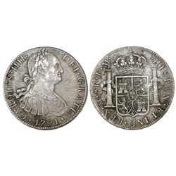 Mexico City, Mexico, bust 8 reales, Charles IV, 1791FM.