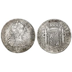 Lima, Peru, bust 8 reales, Charles IV transitional (bust of Charles III, ordinal IV), 1791IJ.