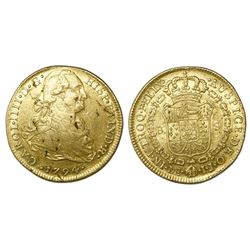 Lima, Peru, bust 8 escudos, Charles IV, 1794IJ.