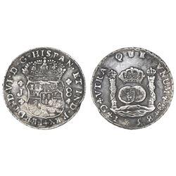 Guatemala, pillar 8 reales, Ferdinand VI, 1758J, space between 7 and 5 in date.