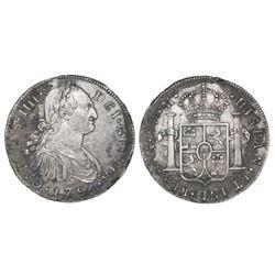 Guatemala, bust 8 reales, Charles IV, 1795M.