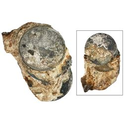 Encrusted clump of three Spanish colonial bust 8 reales (probably Mexico or Guatemala, Charles IV).