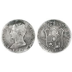 Madrid, Spain, 20 reales, Joseph Napoleon, 1811AI, small eagle.