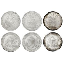 Set of three USA (New Orleans mint) half dollars seated Liberty, 1843-O, 1844-O and 1845-O, in a woo