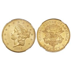 USA (San Francisco mint), $20 coronet Liberty, 1856-S, NGC UNC details / sea salvaged.