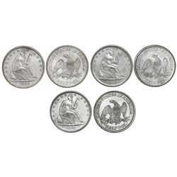 Set of three USA (New Orleans mint) half dollar seated Liberty, 1860-O (United States issue), 1861-O
