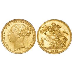 Melbourne, Australia (under Great Britain), gold sovereign, Victoria (young bust), 1872-M, horse rev