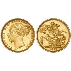 Melbourne, Australia (under Great Britain), gold sovereign, Victoria (young bust), 1877-M, horse rev