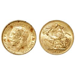 Great Britain (London, England), gold sovereign, George V, 1911, in original box from 1932.